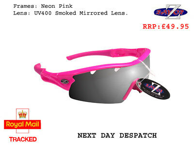 RayZor Uv400 Pink Sports Wrap Sunglasses Vented Smoked Mirrored Lens RRP£49 (220