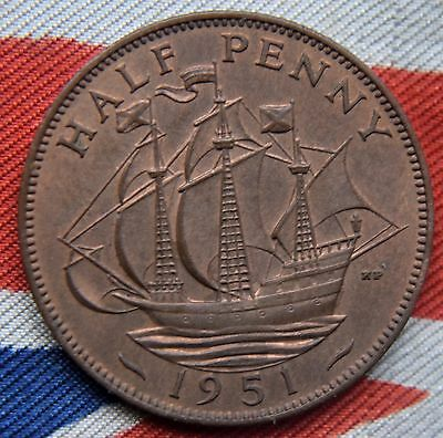 1951 - King George VI - Half penny - UNC Uncirculated