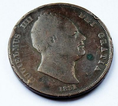 1831 King William Iiii Penny Coin In Nice Condition