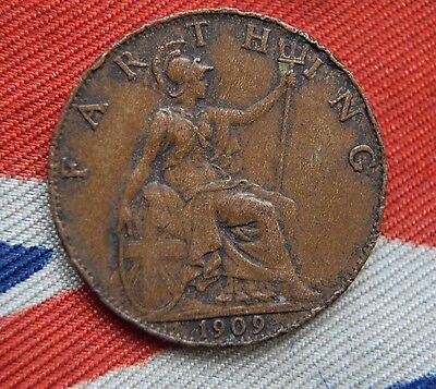 1909 Britain King Edward Vii Farthing  Coin