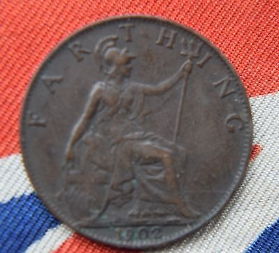 1902 KING Edward VII Farthing Coin - Great Britain