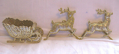 Vintage Plastic SLEIGH & 2 REINDEER Ornaments CHRISTMAS DECORATIONS~Gold GLITTER