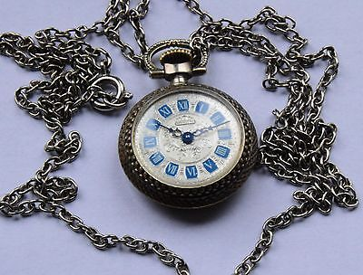 VINTAGE - Swiss Eurastyle blue enamel  Chain & small Watch PENDANT.WORKING ORDER