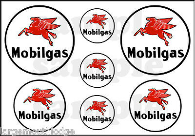 "Mobil Gas Oil Decal 1"" 3/4? 1/2"" Round Pegasus Horse Sheet"