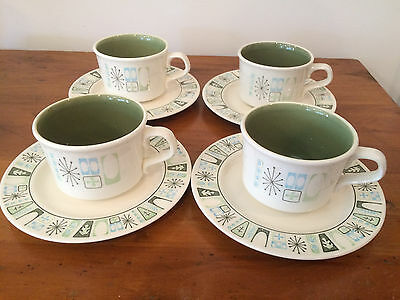 Taylor Smith Cathay Cup Saucer Set 4 Starburst Atomic Green Vintage Taylorstone