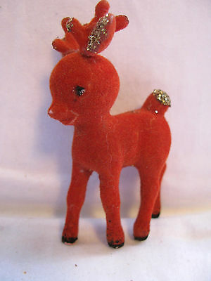 Small Vintage RED FLOCKED REINDEER~Glitter Highlights~CHRISTMAS Decoration