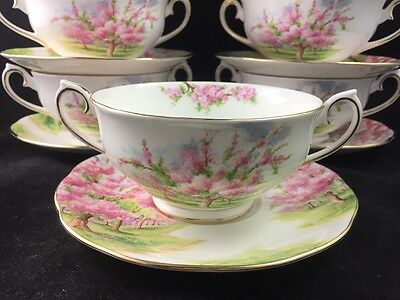 Royal Albert Bone China England BLOSSOM TIME Cream Soup Bowl w/ Saucer, 7 avail.