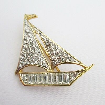 Original Vintage Attwood & Sawyer Gold Plated Crystal Yacht Ship Boat Brooch Pin