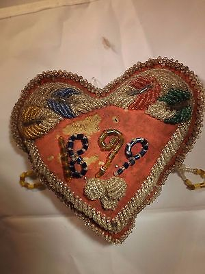 Native American Iroquois Pin Cushion 1899~ Hand beaded Souvnier