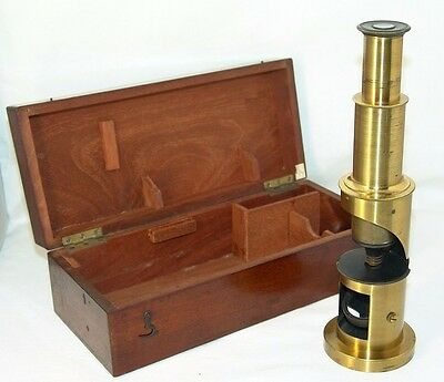 antique brass MICROSCOPE,original box