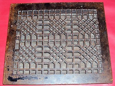 Vintage Cast Iron Floor Grille 14 x 12 Heat Grate Register with Louvers 12 X 10