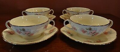 Alfred Meakin Avondale Royal Marigold 2 Handled Floral Soup Bowls & Oval Plates