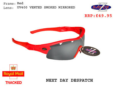 RayZor Uv400 Red Sports Wrap Sunglasses Vented Smoked Mirrored Lens RRP£49 (220