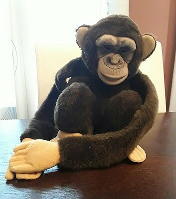 VINTAGE 1984 MONKEY PUPPET Childs Playmate Plush Squeaker Works!