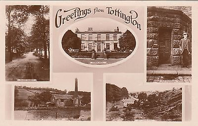 Greetings from Tottington, Lancs, Multi-View, Real photo, old pc, unposted