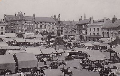 Market Square, Northampton, Northants, old postcard, unposted