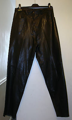 Vintage WORKERS FOR FREEDOM Black Leather Trousers 32W/31L