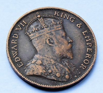 1909 Edward VII Jersey Copper 1/24 of shilling  Half Penny Britiish Coin