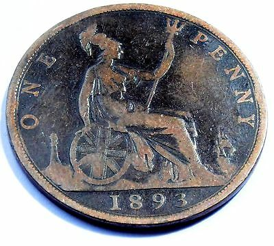 1893 Great Britain  Queen Victoria One Penny Coin