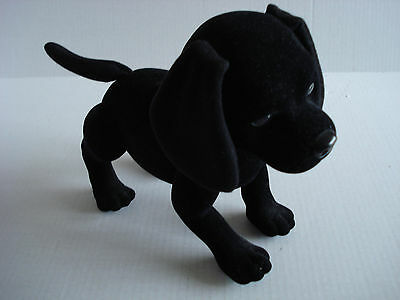 "Black Labrador Retriever Flocked Toy, Real Life, ""Barks"" Posable"