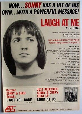 SONNY BONO 1965 Poster Ad LAUGH AT ME atco records SONNY & CHER