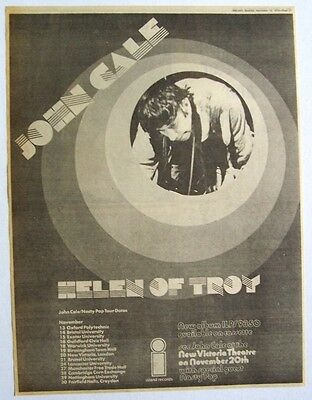 JOHN CALE 1975 Poster Ad HELEN OF TROY