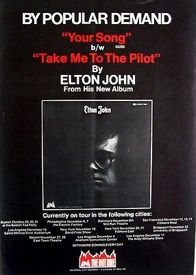 ELTON JOHN 1970 Poster Ad YOUR SONG concert tour