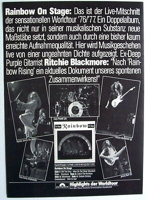 RAINBOW 1977 poster type Advert ON STAGE ritchie blackmore