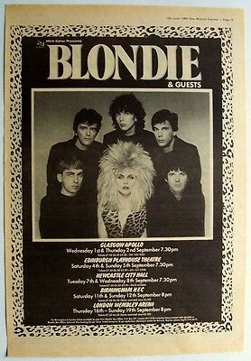 BLONDIE 1982 Poster Ad UK CONCERT TOUR