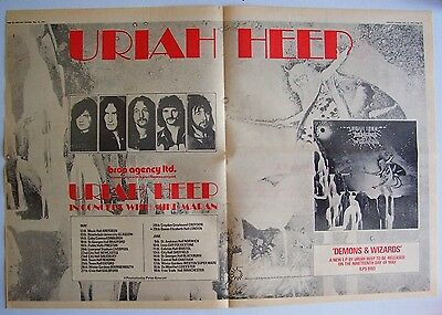 URIAH HEEP 1972 Poster Ad DEMONS AND WIZARDS