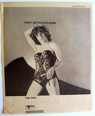 THE WHO 1971 Poster Ad WON'T GET FOOLED AGAIN