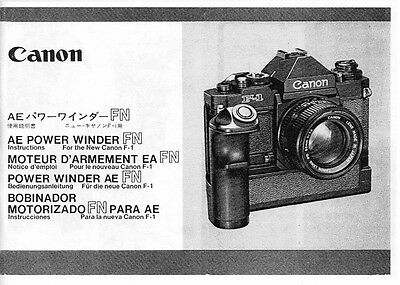 Canon AE Power Winder FN Instruction Manual for New F-1: multi-language