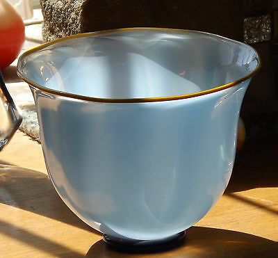 Lindean Mill Signed 1985 Handblown Iridescent Pale Sky Blue Glass Bowl