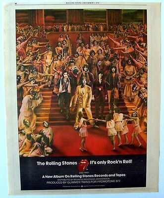 THE ROLLING STONES 1974 Poster Ad IT'S ONLY ROCK 'N ROLL guy peellaert