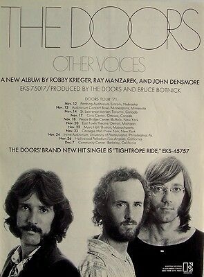 THE DOORS 1971 Poster Ad OTHER VOICES AMERICAN CONCERT TOUR
