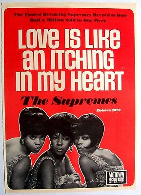 THE SUPREMES 1966 Poster Ad LOVE IS LIKE AN ITCHING IN MY HEART motown
