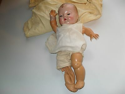 """1950s AMERICAN CHARACTER 13""""  TINY TEARS DOLL w MOLDED HAIR & OUTFIT"""