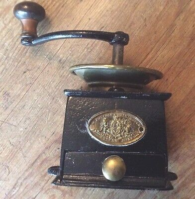 Antique Cast Iron/brass Coffee Mill by W Bullock & Co Ltd Working Order 1585g