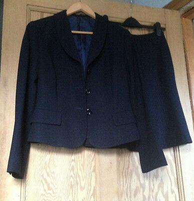 Ladies HOBBS 100% Wool Navy Blue Skirt Jacket Suit Size 12 Lovely Condition