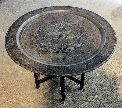"Large 23"" Antique Persian Copper Tray Table Top Plaque With Wooden Base"