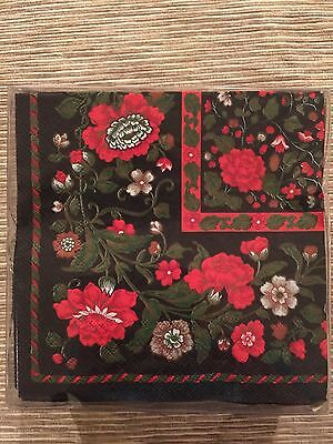 Caspari Deluxe Triple Ply Cocktail Napkins 10x10 China Trade Oriental Floral Red