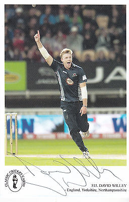 David Willey (Yorkshire & England) signed colour postcard