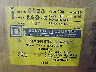 New Open Box Square D 8536 Magnetic Starter Series A Size O 3 Pole NEMA Type 1
