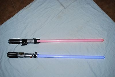 STAR WARS 2010 Ultimate FX ANAKIN SKYWALKER LUKE REY Blue & VADER Red Lightsaber