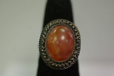 Antique Chinese Silver Tone Amber Ring