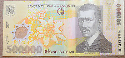 ROMANIA: 500000 Lei polymer banknote since 2000 in aXF Condition. ROL