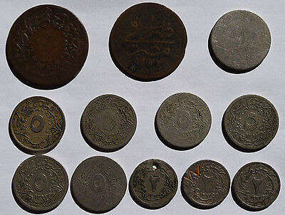 Ottoman Empire / Egypt: 12 old coins. Para, Qirsh. Collectible coins.