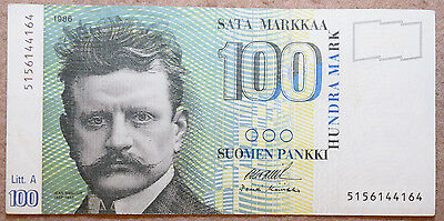 FINLAND: 100 Markkaa banknote since 1986 in VF+ Condition. FIM