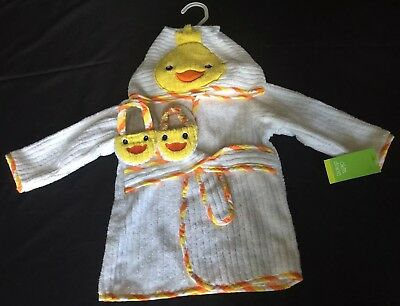 NWT Okie Dokie Cotton Duckie Bath Robe & Slippers Set NB-9 Months Boy Girl Baby