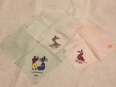 (3) Vintage 1950s Pre Embargo Cuba Pink Green Silk Embroidered Handkerchiefs